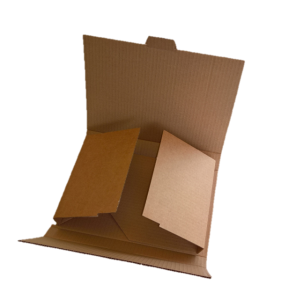 Die-cut corrugated cardboard box, folded